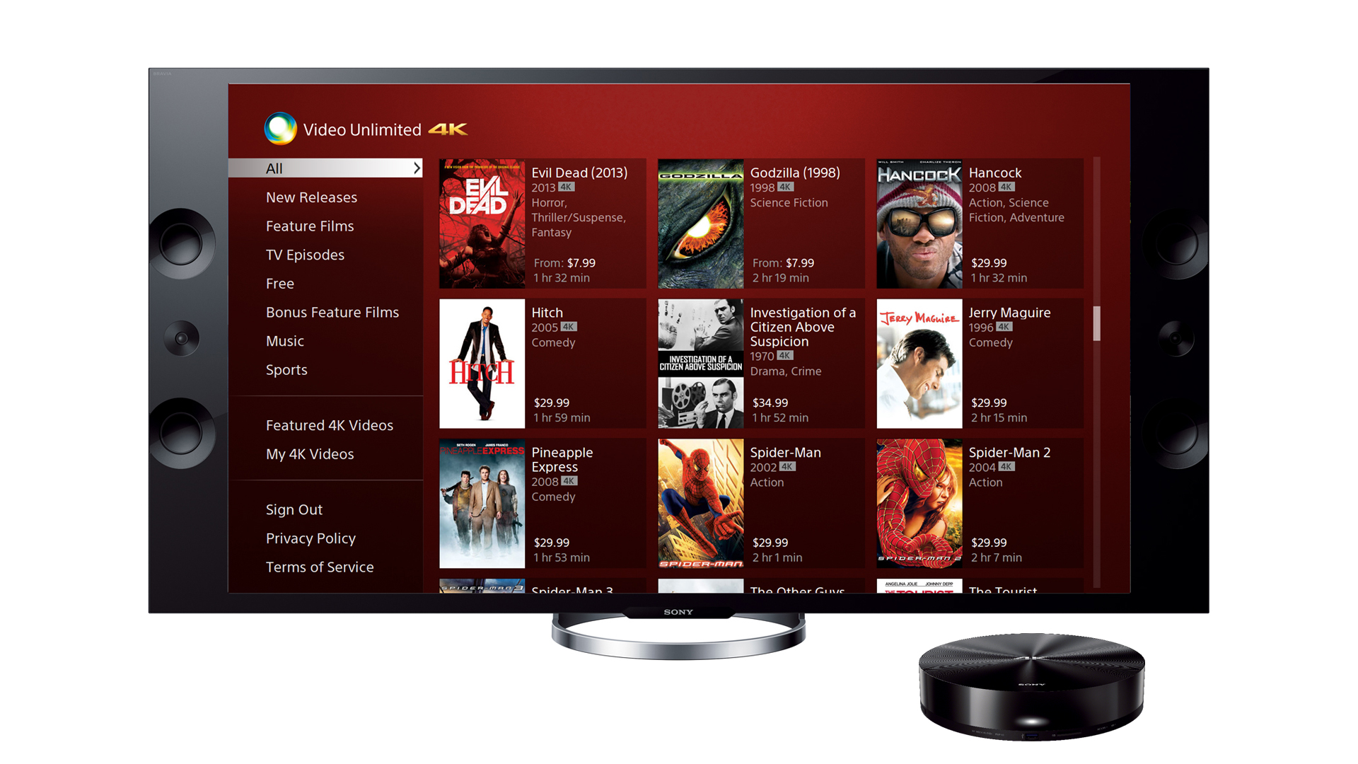 Sony Video Unlimited 4K Service